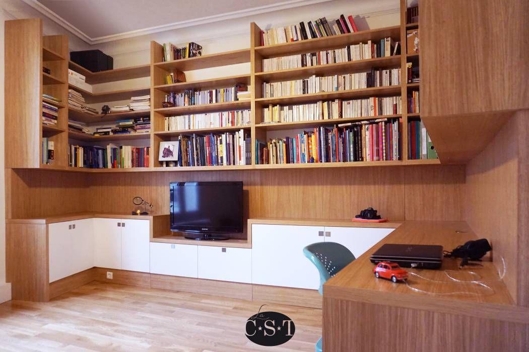 agencement filant sur trois murs avec biblioth que. Black Bedroom Furniture Sets. Home Design Ideas