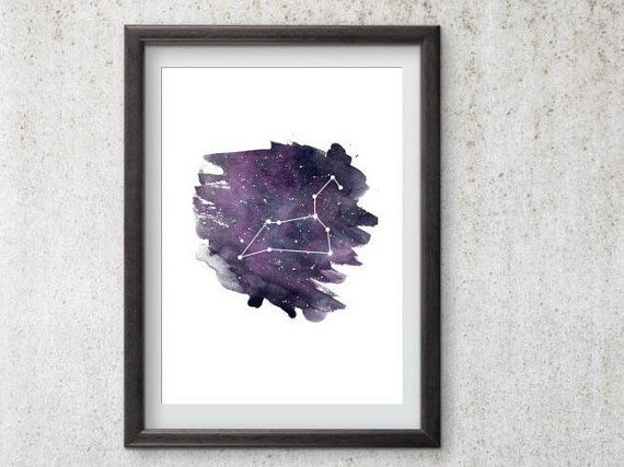 Photo of Leo Zodiac Print, druckbares Leo Constellation Poster, Leo Print, Astrologiedruck, Leo Zodiac Art
