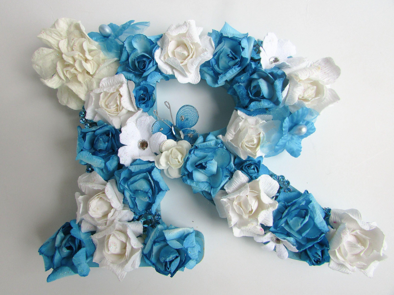 Floral name letter custom name letter nursery decor blue floral name letter custom name letter nursery decor blue flower letter flower letter b wedding decor custom letter a decor by izmirmasajfo