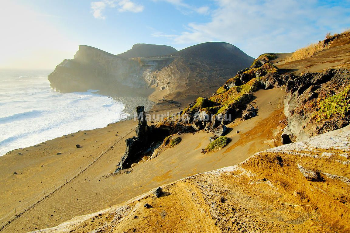 The Vulcao dos Capelinhos (Capelinhos volcano) last eruption was in 1957. It is a major attraction in Azores islands for its history, its geology and the wild beauty of the site. Faial, Azores islands, Portugal