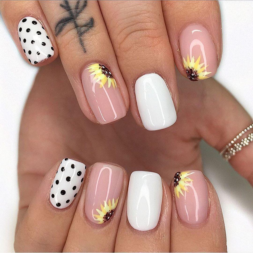80 Cute Short Nail Art Design Ideas You Can Copy In 2020 Summer Ibaz In 2020 Cute Nail Art Designs Sunflower Nails Cute Short Nails