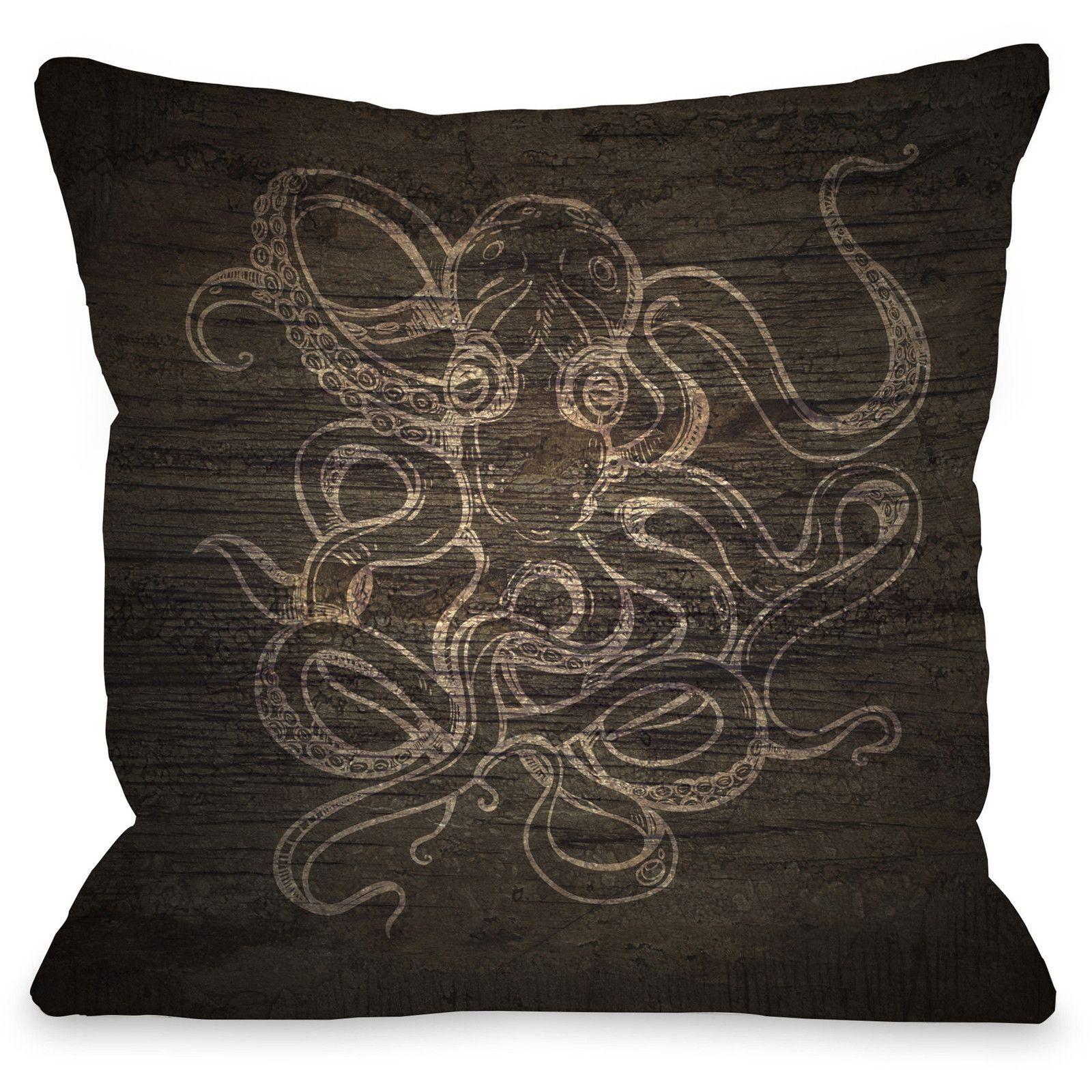 """Octopus Wood Sketch"""" Indoor Throw Pillow by OneBellaCasa, 16""""x16"""