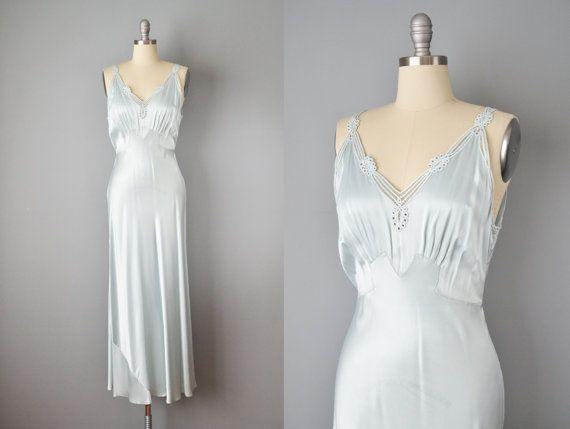 30s Nightgown 1930s Yolande Baby Blue Silk Slip Dress Etsy Silk Slip Dress Night Gown Slip Dress