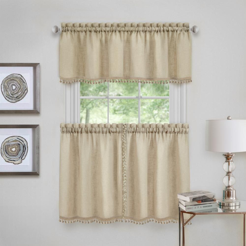 Achim Wallace Polyester Tier And Valance Curtain Set In Linen 58