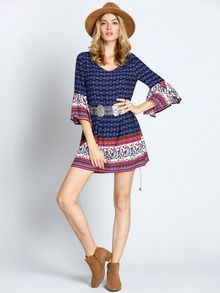 Multicolor Textured Round Neck Vintage Print Dress