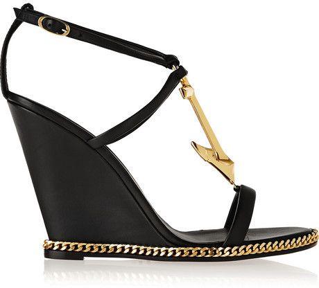 Giuseppe Zanotti Embellished leather wedge sandals on shopstyle.com