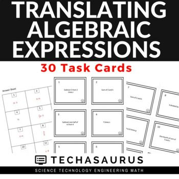Math Translating Algebraic Expressions Task Card Set Pinterest