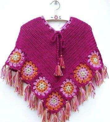 Capas y Ponchos para niñas a Crochet | tejidos de bebes | Pinterest ...