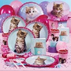 8 KITTEN PARTY Pink Cat SMALL PAPER PLATES ~ Birthday Supplies Cake Dessert