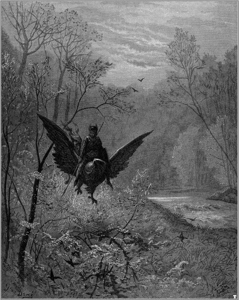 Illustration to Orlando furioso by Gustave Doré, featuring the hippogriff, a monster never actually found in folklore.