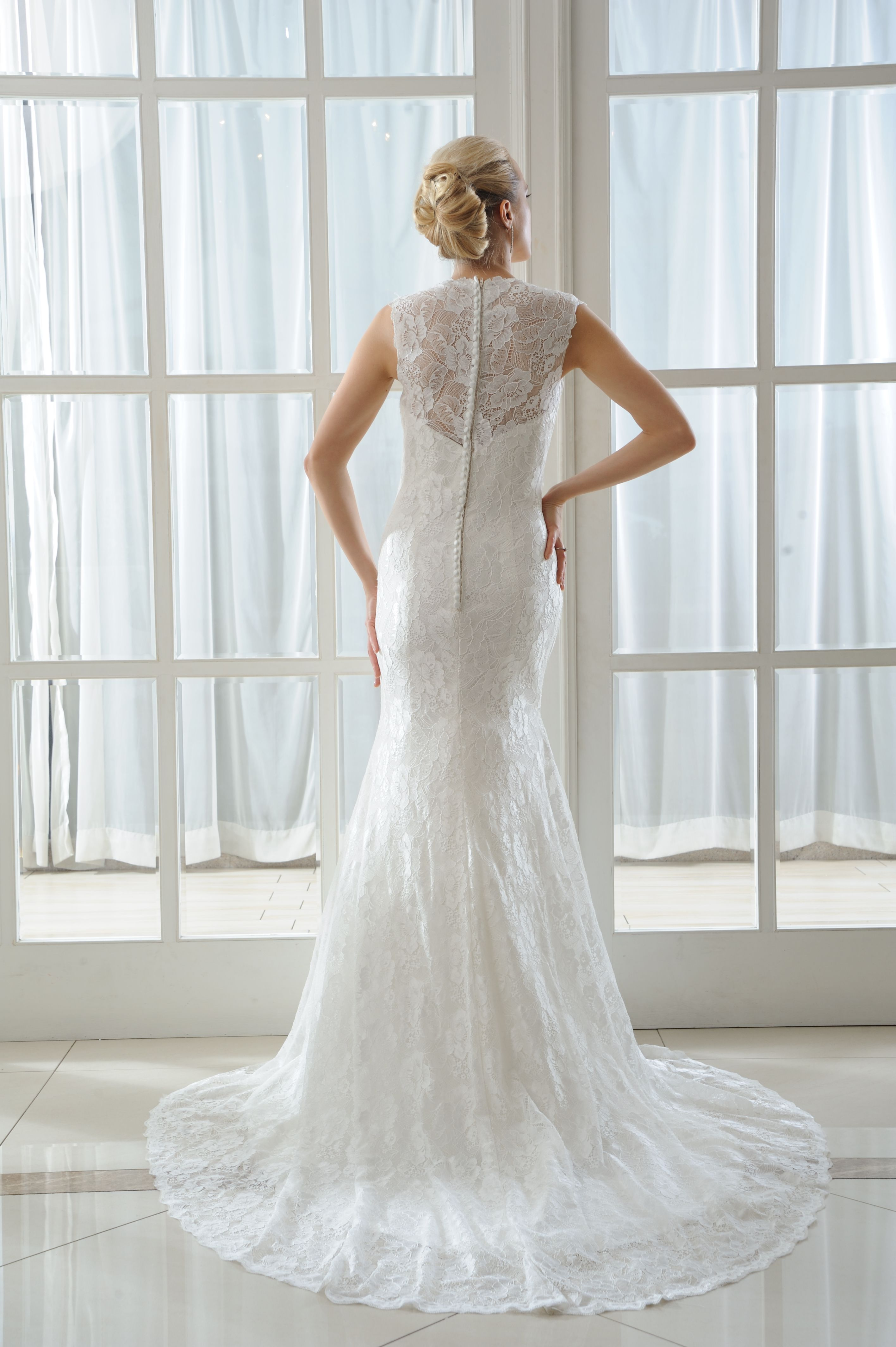 Poppy - Brides by Harvee lace fishtail wedding dress http://www ...