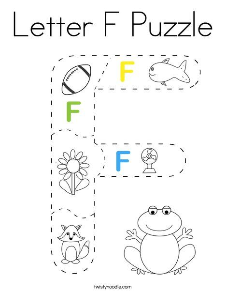 Letter F Puzzle Coloring Page - Twisty Noodle in 2020 ...