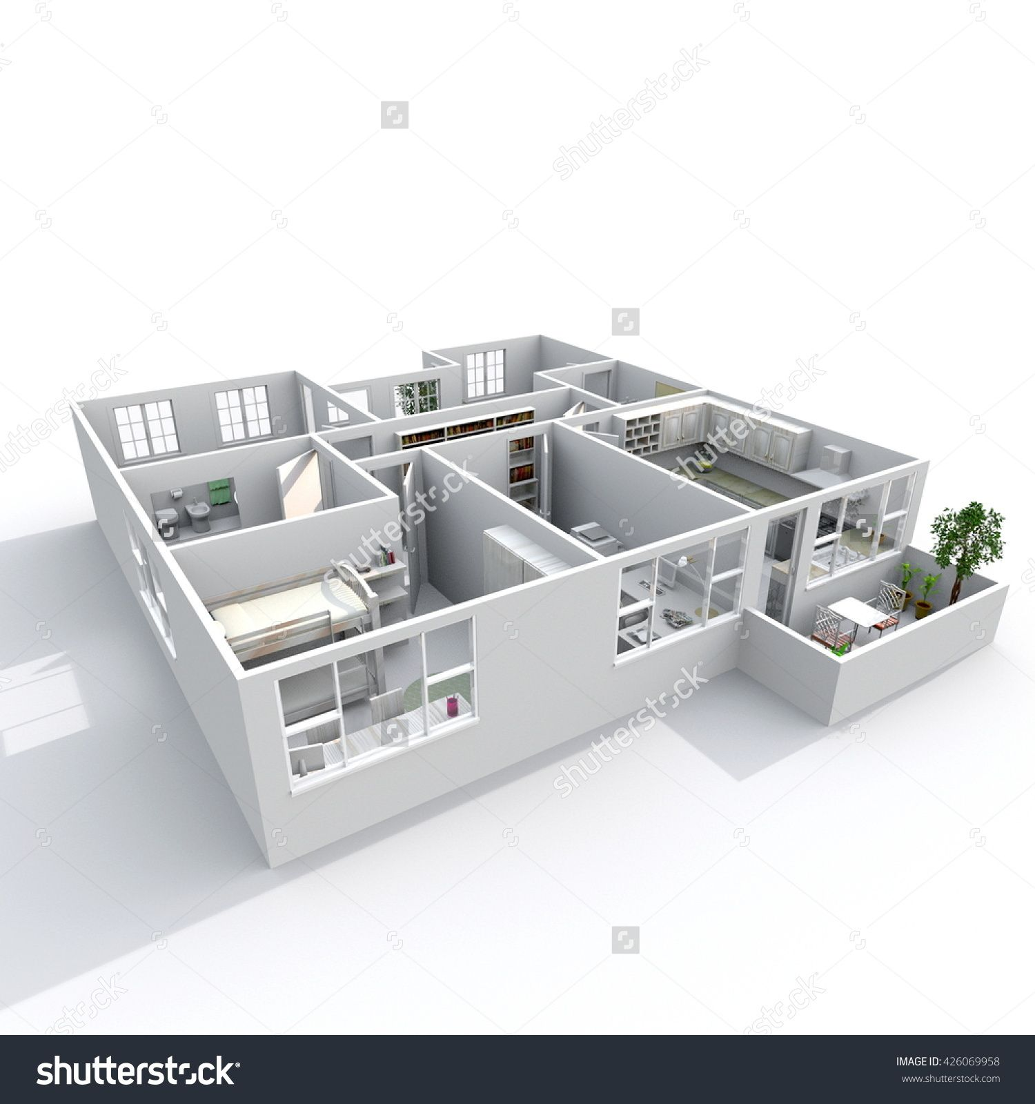3d Interior Rendering Oblique View Of Furnished Home Apartment With Balcony Room Bathroom