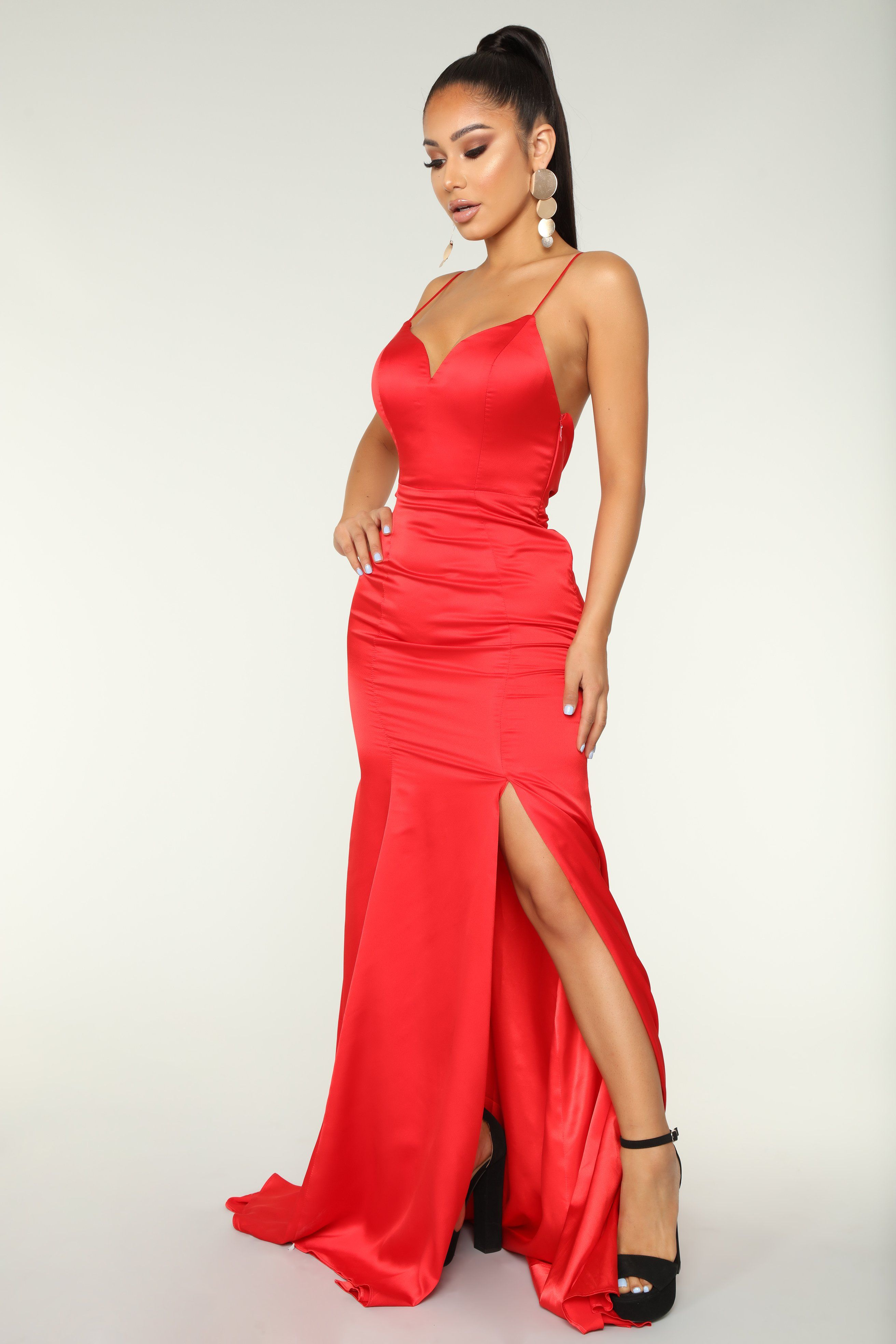 Light Of The Moon Satin Dress Red in 2020 Satin
