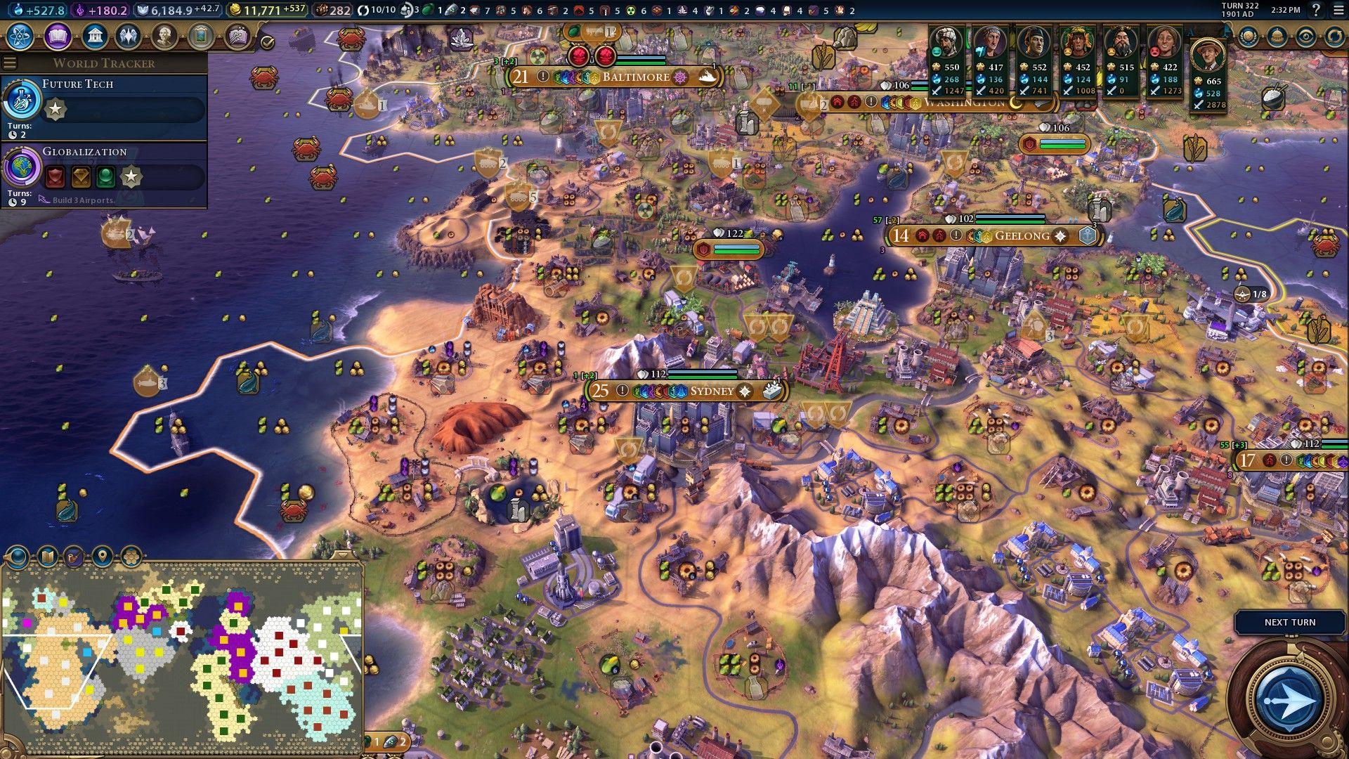 Civ 6] Uluru Petra Ruhr Valley Liberation War as Aus = 278