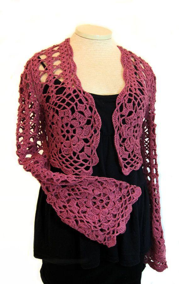 efe0e48b0b3d9 Raspberry shrug, wrap, crochet shrug, knit shrug, lace, stole, shawl, lace  cardigan, long sleeves, bolero, crochet sweater, women's clothing