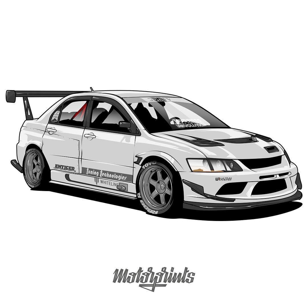 Motorprints On Instagram Mitsubishi Lancer Evo Ix Owner Evo951 Order Illustration Of Your Car Write Me In Direct Message Or Email Car Art Cars Bmw Cars