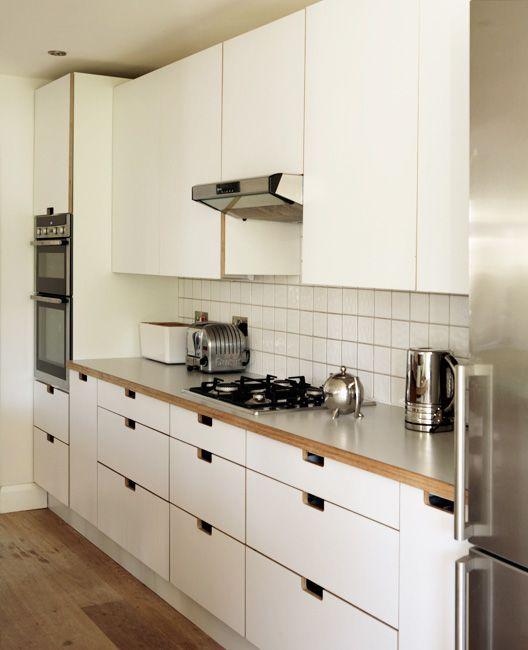 White Doors No Handles Birch Plywood Formica Kitchen By Matt Antrobus