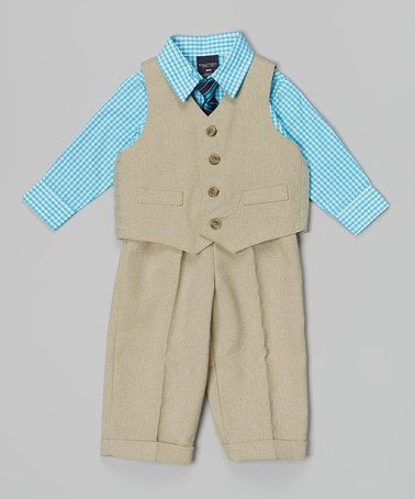 Another great find on #zulily! Khaki Gingham Linen Four-Piece Vest Set - Infant #zulilyfinds