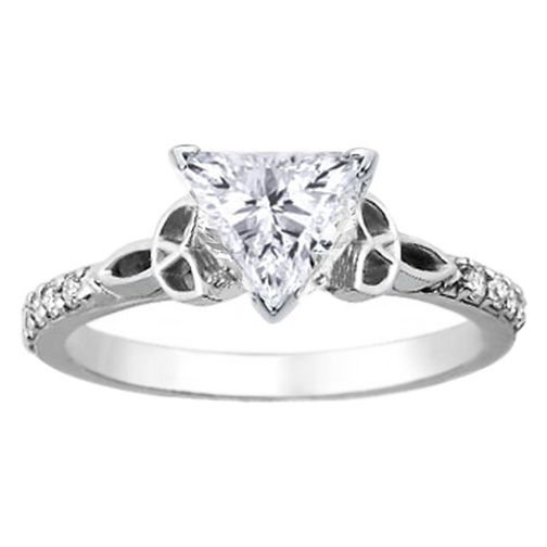 trillion diamond cut celtic knot engagement ring with diamond accents in 14k white gold - Wiccan Wedding Rings