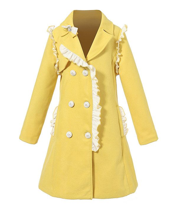 77301f019df0 Look at this Richie House Yellow Ruffle Wool-Blend Peacoat - Toddler ...