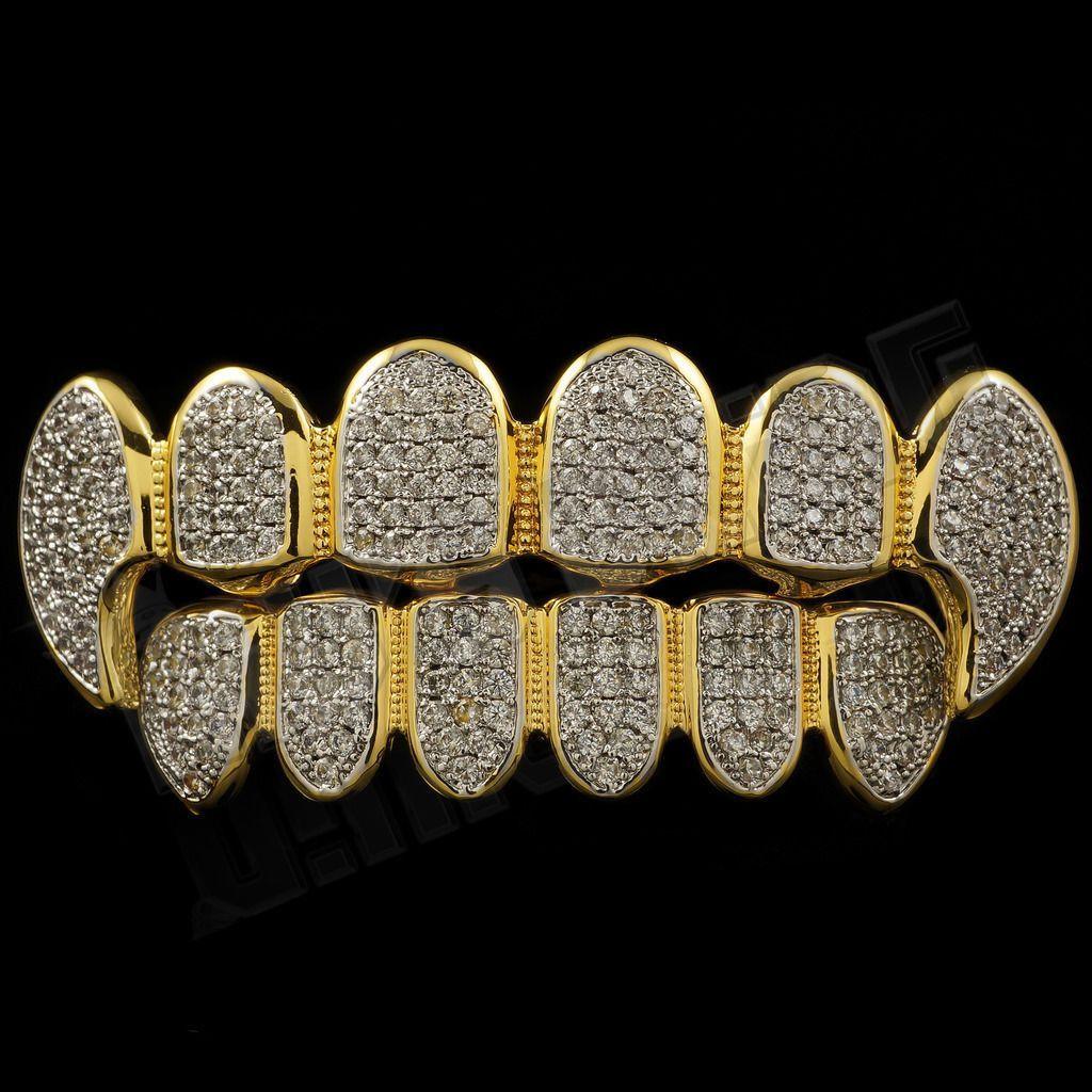 18k gold plated cz fangs rhodium grillz set grillz gold