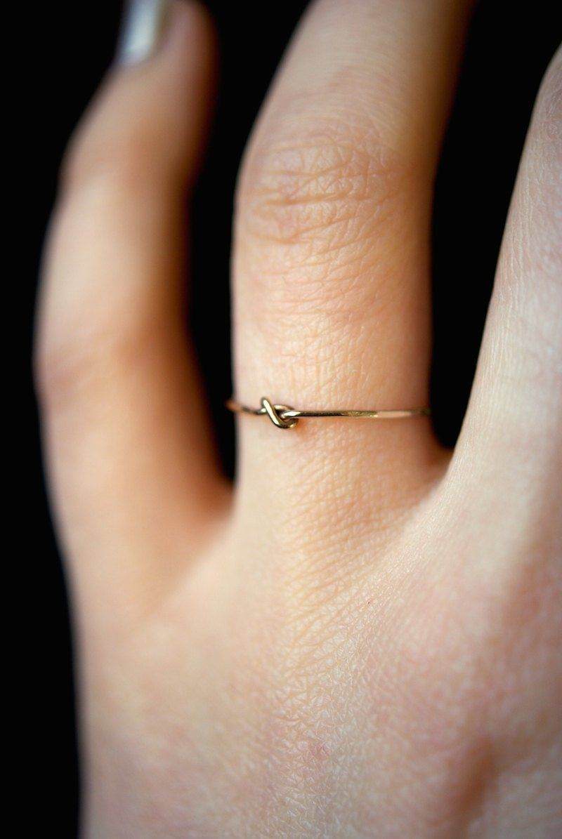 SOLID 14K Gold Tiny Ultra Thin Closed Knot ring, d