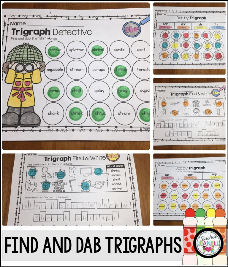 Trigraphs 3 Letter Blends Dab It K 2 Terrific Teaching Pinterest