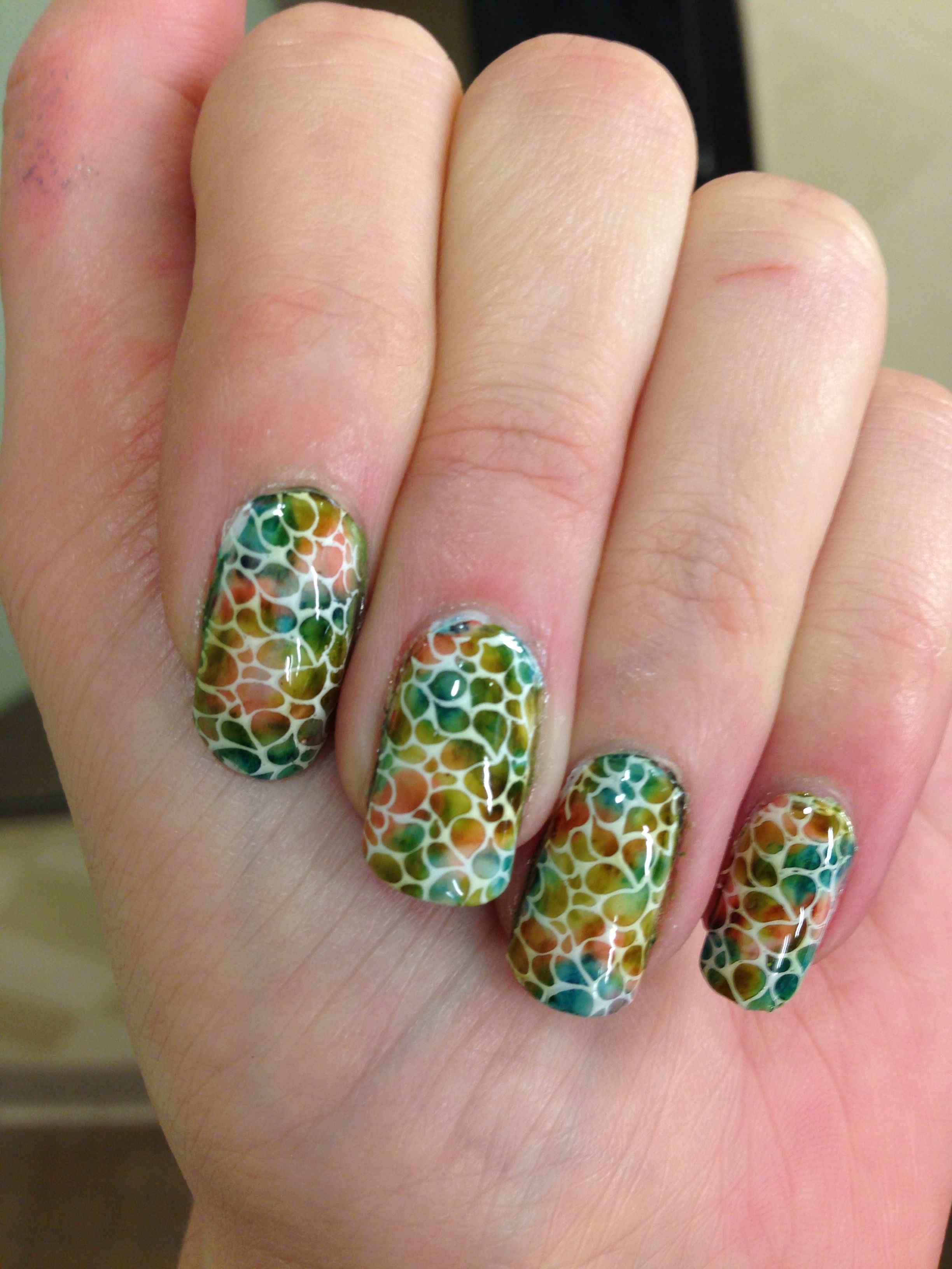 Nail stamping art with Überchic plate 1-01 and alcohol ...