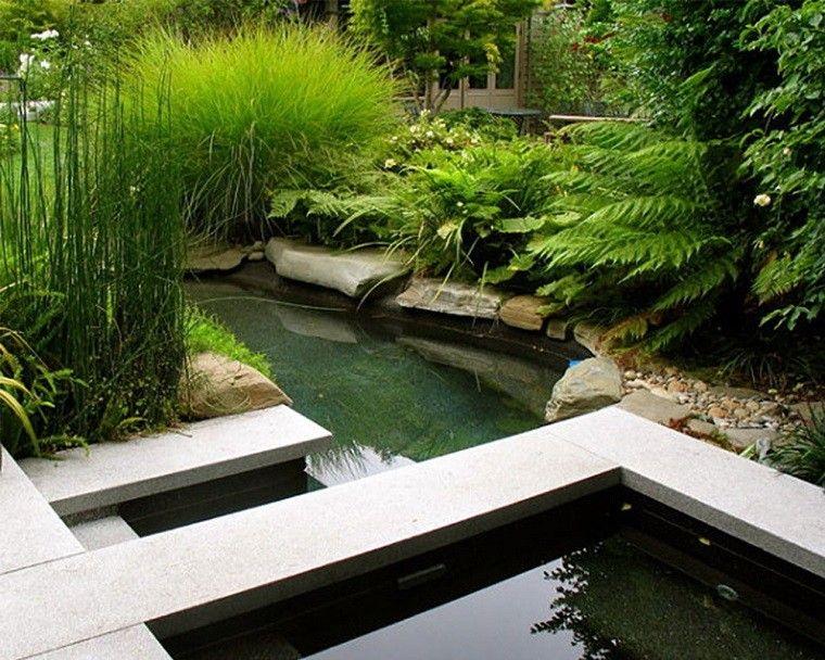 jardin rocas estanques peces plantas grava Jardín Pinterest