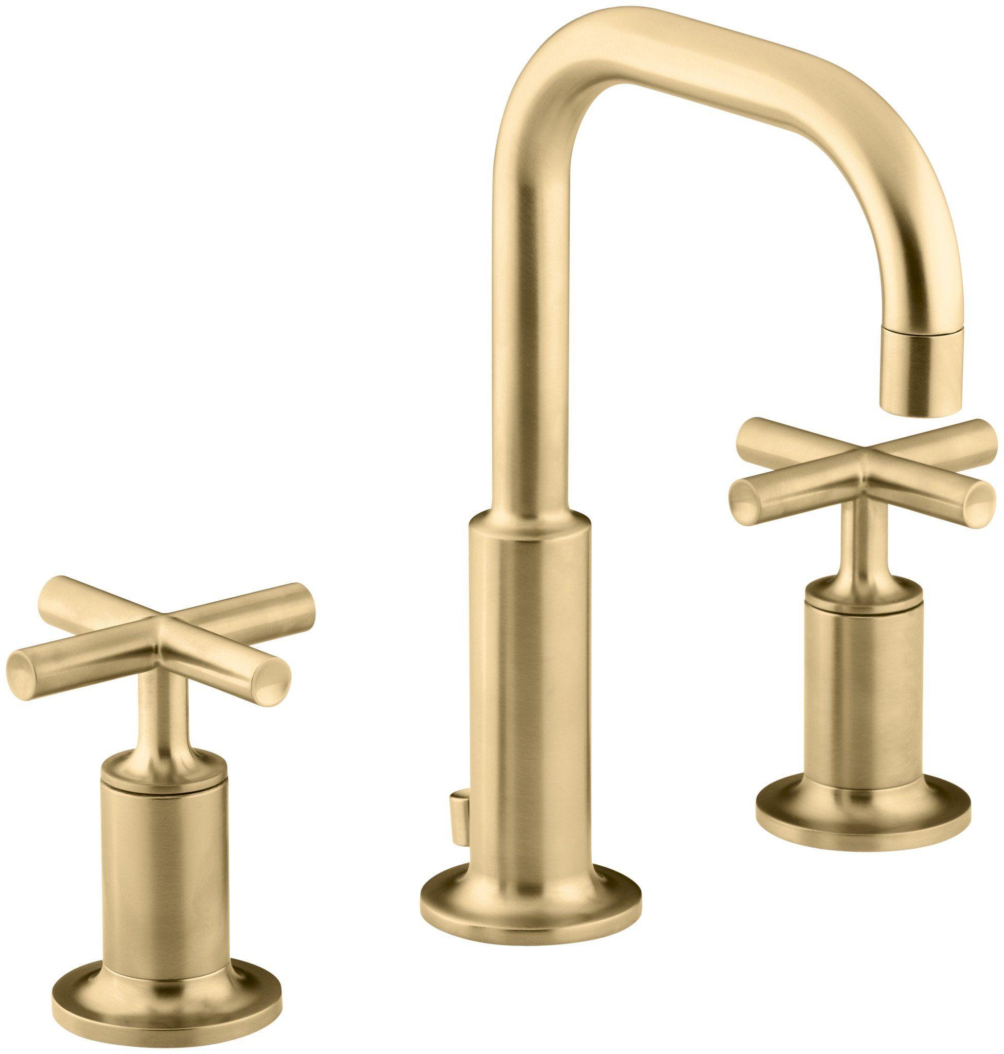 KOHLER K-14406-3-BGD Purist Widespread Bathroom Sink Faucet with Low ...