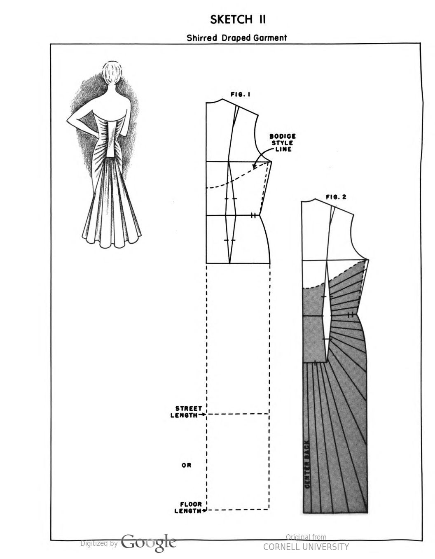 Drape flat paper pattern making of fashion design