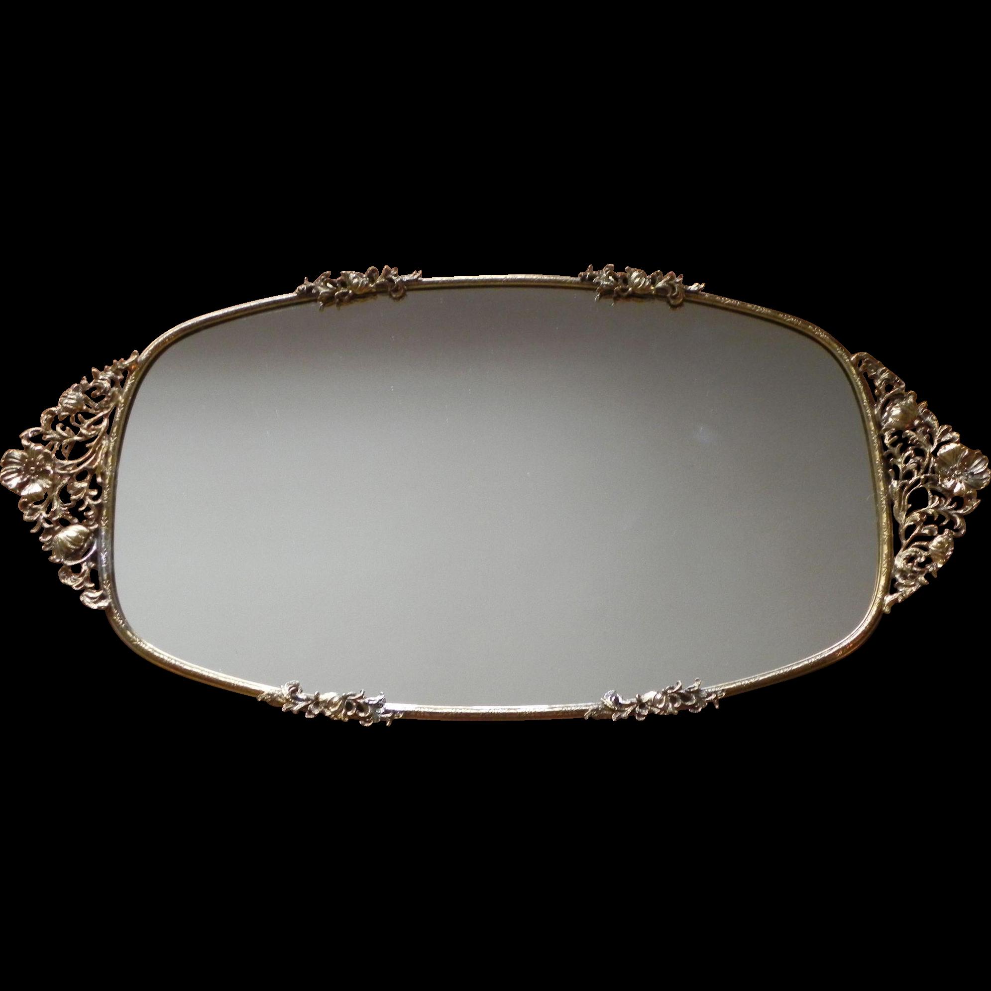 Mirrored tray for bathroom - Rare Large Signed Matson Poppy Perfume Vanity Mirror Tray Ormolu