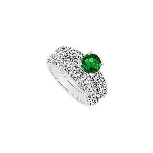 14K White Gold : Emerald and Diamond Engagement Ring with Wedding Band Set 1.80 CT TGW