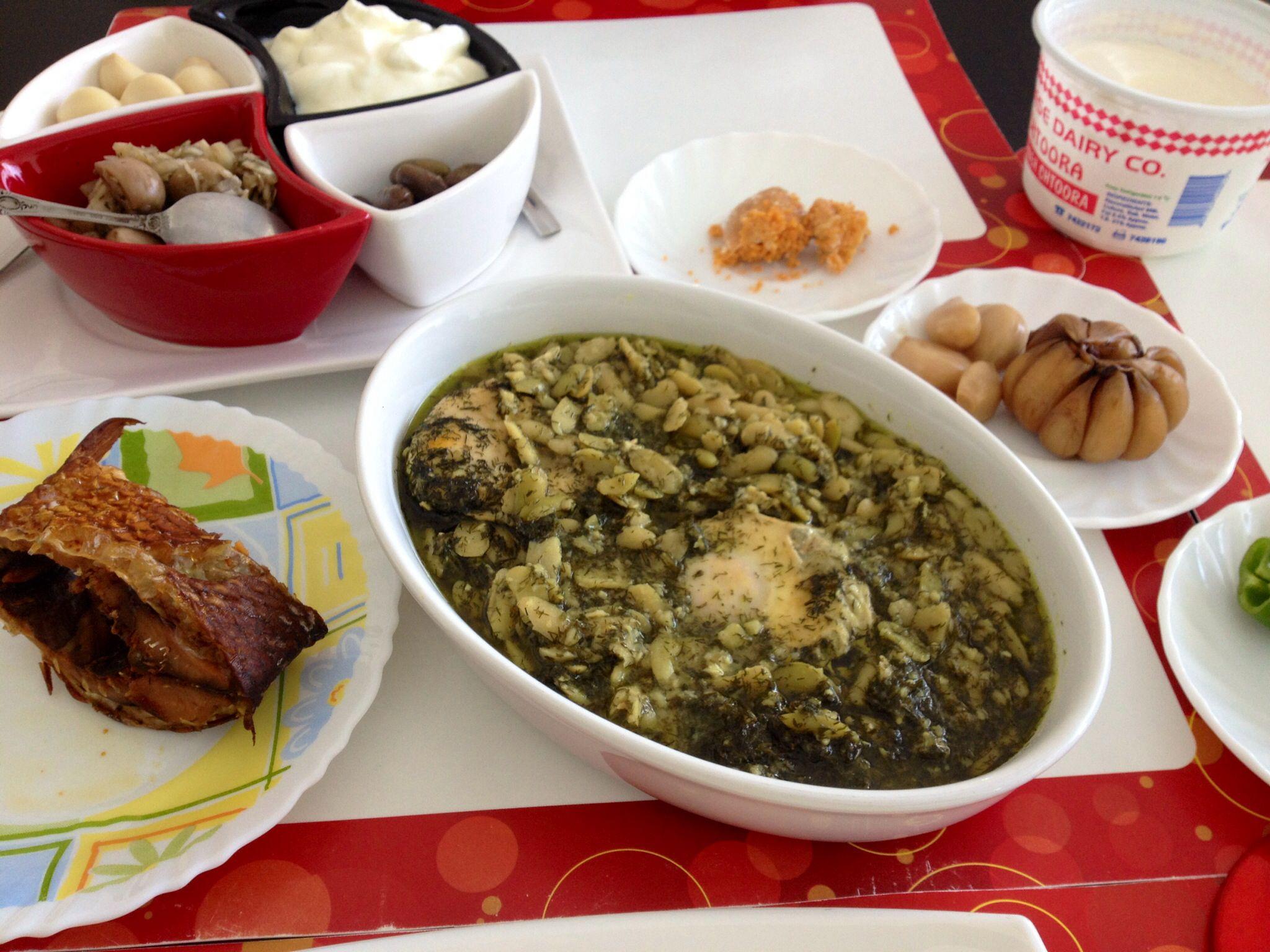 iranian food با ماهي دودي و اشپيل ماهي