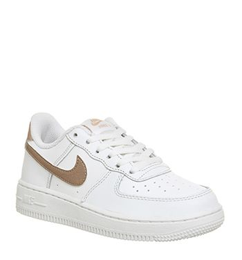 nike, air force 1 formatori, bianco metallico rosso bronzo nike air