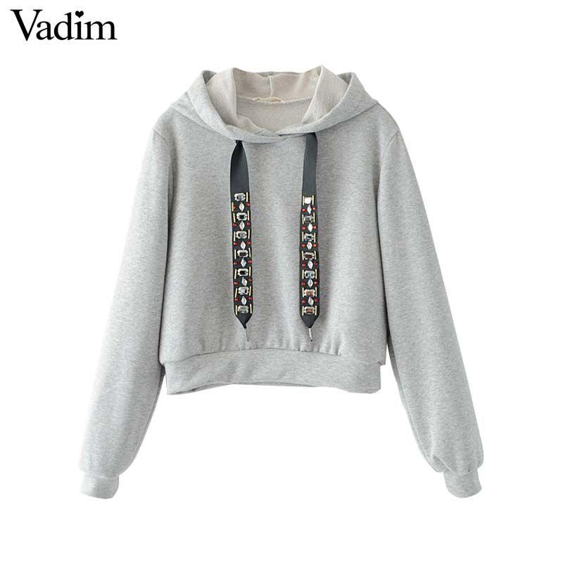 cheaper 8c51e 4c368 Vadim frauen beiläufigen mit kapuze kurze sweatshirt diamant ...
