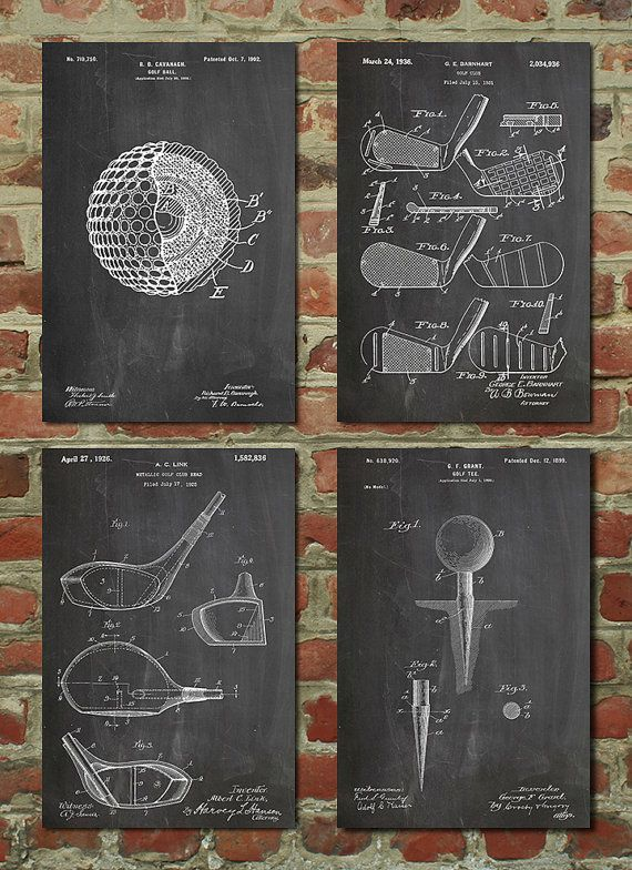Golf Patent Posters Group of 4, Golf Gifts for Men, Golf Decor, Office Decor, Golf Club, Golf Ball, PP1184 is part of Office decor For Men - This Patent Print is digitally printed on archival quality card stock paper with vivid color and exceptional detail, suitable for home, office, museum, or gallery display  This print is available in multiple print sizes and colors for the perfect fit in your space  The original historic patent is cleaned up and restored to create custom prints and bring you flawless decor  Please scroll through all pictures in this listing to see color options and frame options  Prints can be purchased framed or unframed  Our frames are contemporary design available in white or black  These frames include white matting and clear styrene glass   If you would like to order your frame without the mat, please request no mat in the customer notes section at checkout  Frame Dimensions 8x10 Black frames Art is 4 5  x 6 5  mat is 2  wide and Outside of Frame is 9 5  x 11 5  8x10 White frames Art is 4 5  x 6 5  mat is 2  wide and Outside of Frame is 9  x 11  11x14 Black frames Art is 7 5  x 9 5  mat is 2  wide and Outside of Frame is 12 5  x 15 5  11x14 White frames Art is 7 5  x 9 5  mat is 2  wide and Outside of Frame is 12  x 15  16x20 Black frames Art is 10 5  x 13 5  mat is 3  wide and Outside of Frame is 17 5  x 21 5  16x20 White frames Art is 10 5  x 13 5  mat is 3  wide and Outside of Frame is 17  x 21    Shipping Print sizes up to 9x12 are shipped flat in sturdy Stay Flat mailers  Print sizes above 9x12 are rolled, placed in plastic sleeves and shipped in hard shipping tubes  Framed prints will be delicately placed into a well packaged box  Please allow one business day for your order to be shipped  Wanting a specific size or print not listed  We'll take care of that! Just let us know how we can accommodate your needs