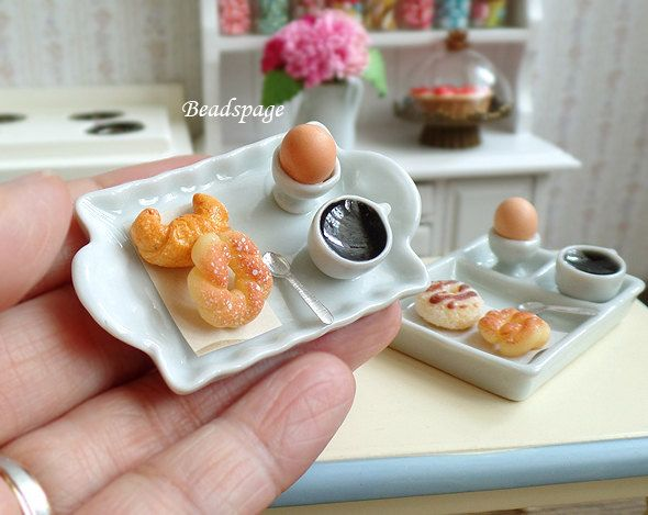 Miniature Food Breakfast Set - Donut Egg Coffee Tray, Diorama Dollhouse Cafe Tabletop Decoration, Food Jewelry DIY Craft (see Item Details) by BEADSPAGE on Etsy https://www.etsy.com/listing/49215443/miniature-food-breakfast-set-donut-egg