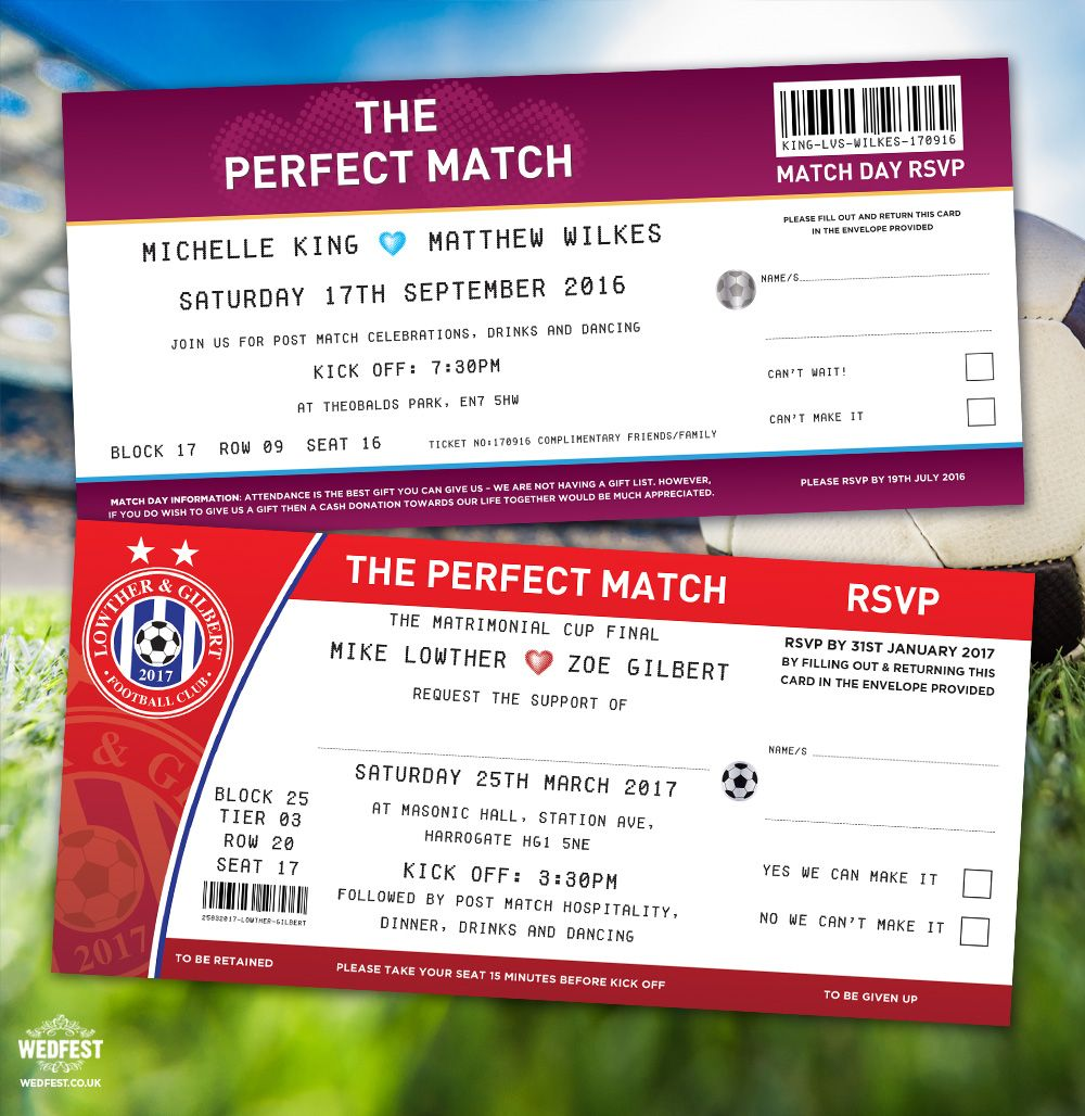 the perfect match football wedding invitations http://www.wedfest.co ...