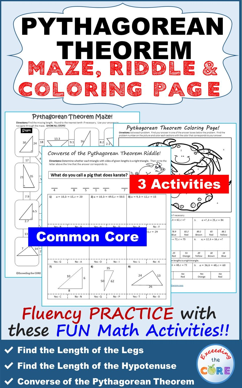 Pythagorean Theorem Maze Riddle Color By Number Fun Math Activities Fun Math Activities Pythagorean Theorem Math Activities