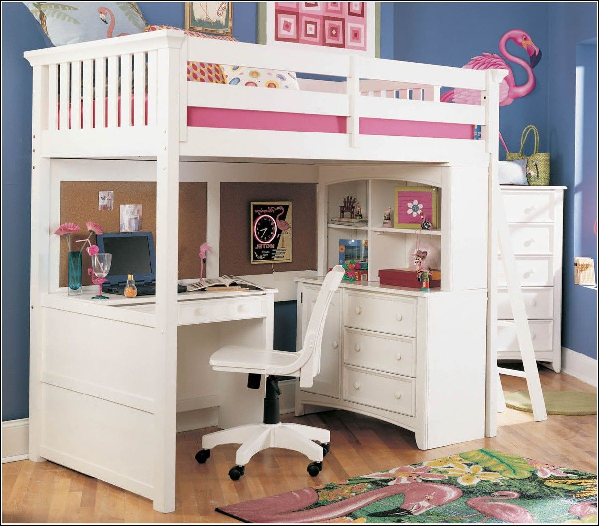 Design Loft Beds With Desk For Girls sketch of bunk beds with desks girls white wooden and chair