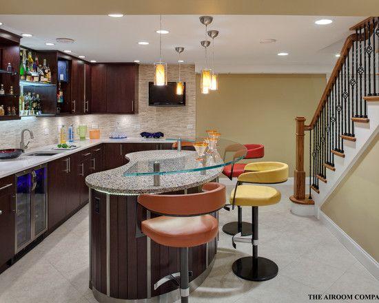 Beautiful Kitchen With Glass Bar Countertops Design Beautiful