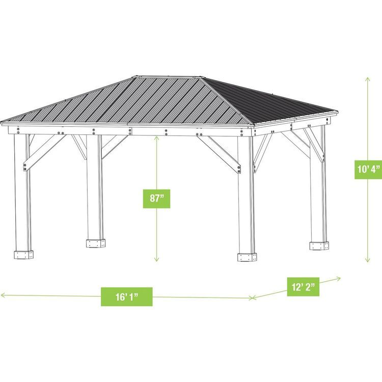 12 X 16 Cedar Gazebo With Aluminum Roof Gazebo Gazebo Plans Pergola Shade Diy