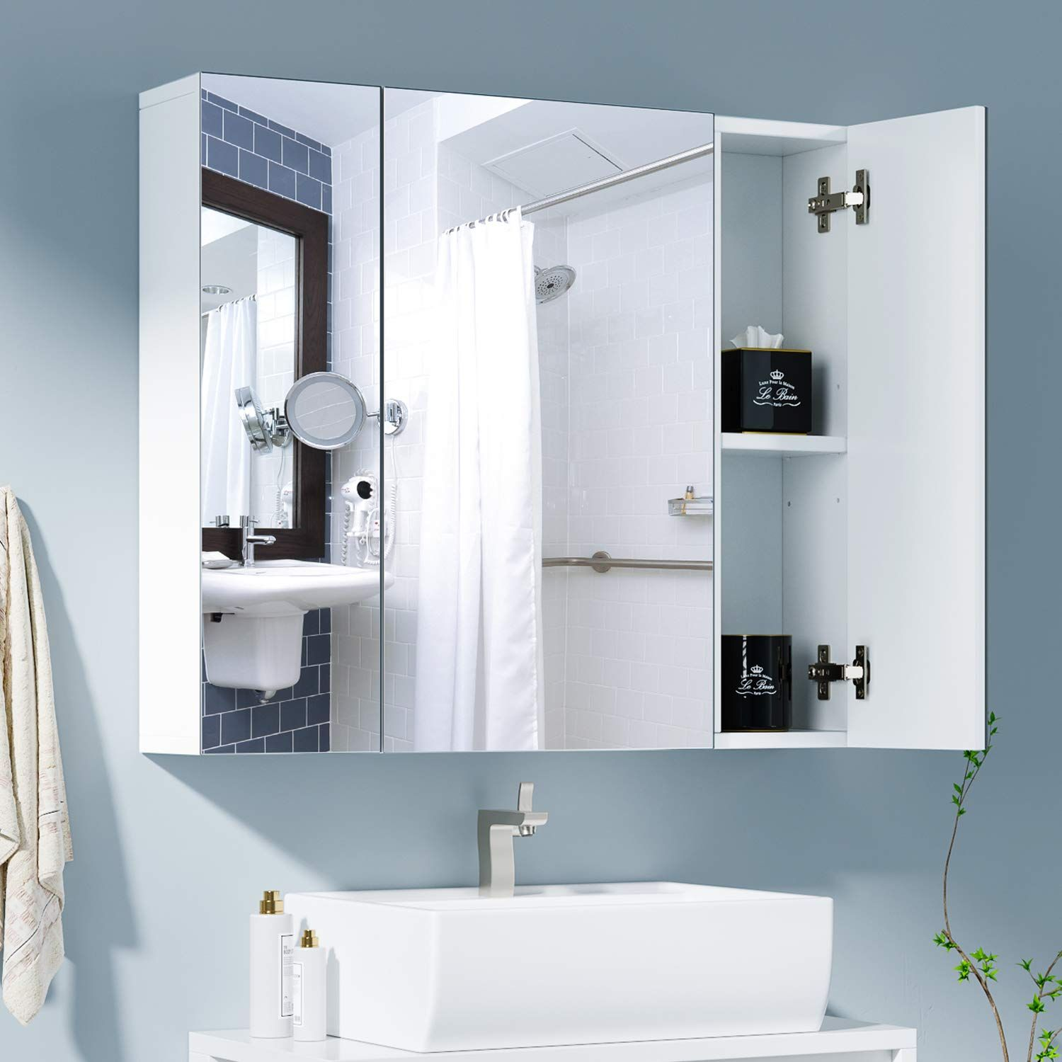 Bathed In Beauty Mirrored Cabinet Doors Bathroom Armoire Mirror Cabinets [ 1200 x 764 Pixel ]