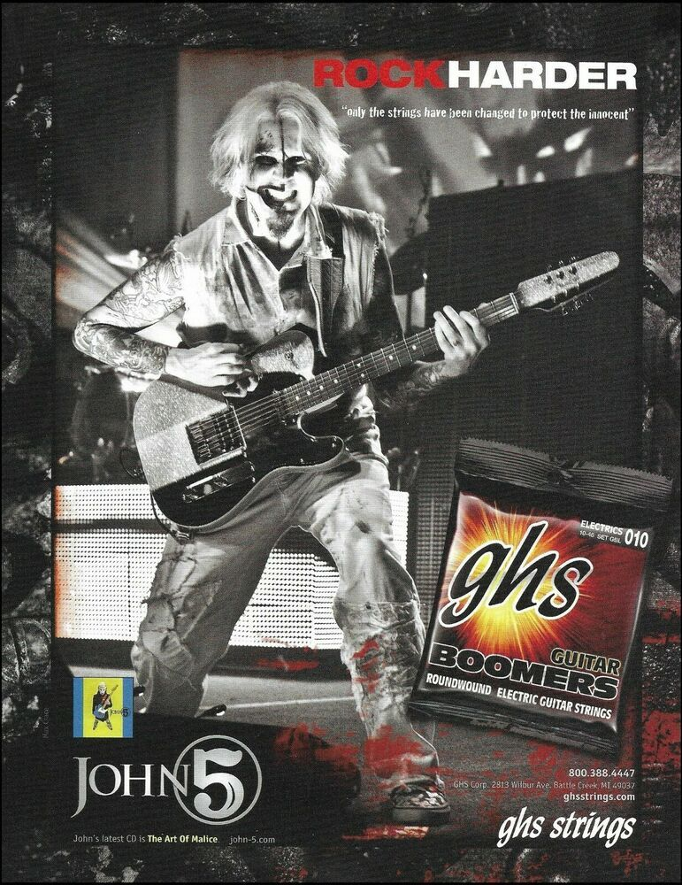 John 5 The Art Of Malice 2010 Ghs Guitar Strings Advertisement 2007 Ad Print Ghs In 2020 John 5 Guitar Strings Guitar