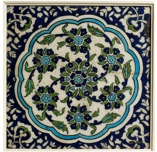 """Tile; Damascus (Syria), ca. 1550-1600. """"In the 16th century, Damascus became an important Ottoman provincial capital giving rise to new building schemes faced with tilework. Potters came to Damascus to work on the tilework. The designs were inspired by Iznik patterns, but were freed of the formality of the strictly controlled court designs, instead the Syrian patterns are more spontaneous and exuberant."""