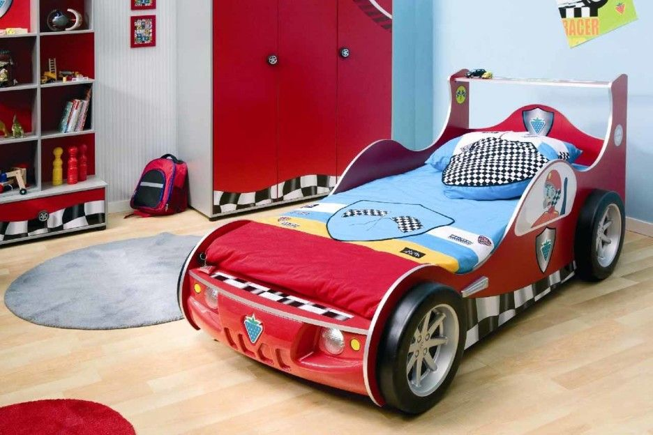 Cute and Colorful Little Boy Bedroom Ideas: Race Car Themed Boys Room In Blue And Red With Storage ~ Kids Bedroom Inspiration