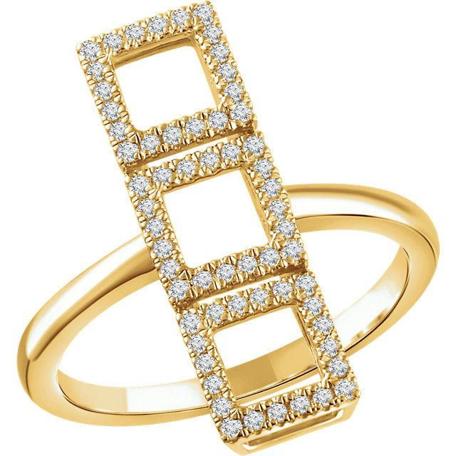 MSRP: $1299.99 Our Price: $899.99 Savings: $400.00  Item Number: 652326  Made To Order. Availability: Usually Ships in 5-10 Business Days  PRODUCT DESCRIPTION:  Crafted in 14k Gold, this fashionable ring for her features and a triple square ...