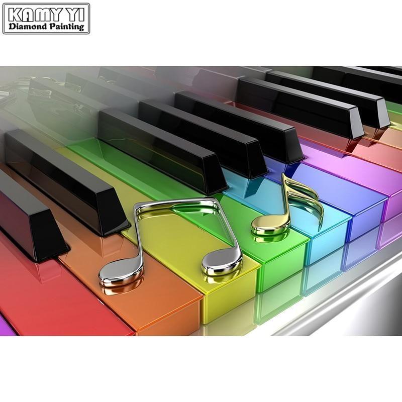5d Diy Diamond Painting Modern Rainbow Keyboard Craft Kit Music Pictures Music Images Diamond Painting